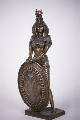 "Ancient Egyptian Sculpture Warrior Goddess Isis With Shield 11""H Bronze Finish"