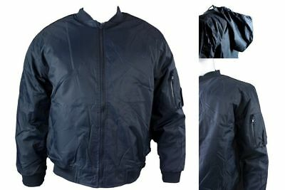 Mens Bomber Flying Style Pilot Airforce Biker Security Jacket Black Navy S-3XL