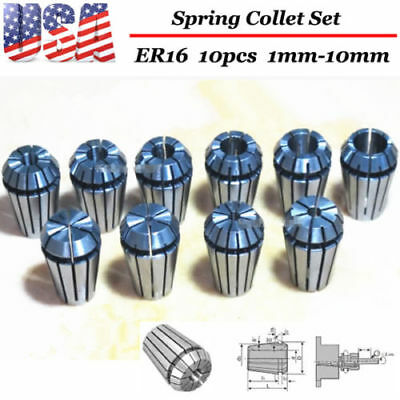 10PCS ER16 Spring Collet Set For CNC milling lathe tool Engraving Machine - US