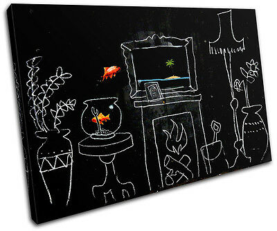 Goldfish Banksy Painting SINGLE CANVAS WALL ART Picture Print VA