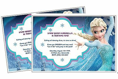 10 ELSA FROZEN BIRTHDAY PARTY INVITATIONS OR THANK YOU CARDS  W / ENVELOPES