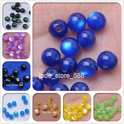 wholesale Fashion Charm Acrylic Cat's Eye Round Loose Spacers Beads 6mm