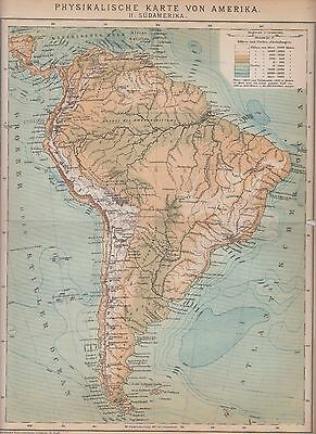 c. 1890 SOUTH AMERICA PHYSICAL MAP  Antique Map