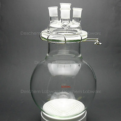 5000ml,Glass Reaction Vessel,5L,24/29,4-Neck,Round Bottom Reactor,W/Lid & Clamp