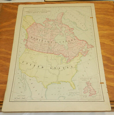1900 Antique COLOR Map/DOMINION OF CANADA and UNITED STATES