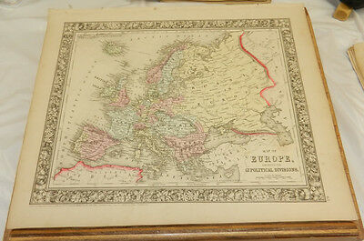 1860 Mitchell COLOR Map/EUROPE w/RUSSIA,SPAIN,ENGLAND,AUSTRIA,GERMANY,FRANCE