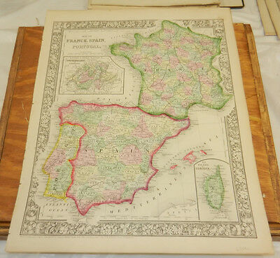 Map Of Spain Portugal And France.1862 Mitchell Antique Color Map France Spain Portugal Corsica