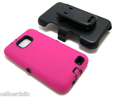 Straight Talk Samsung Galaxy S2 SGH-S959G HOLSTER w/BUILT IN SCREEN HPINK Case