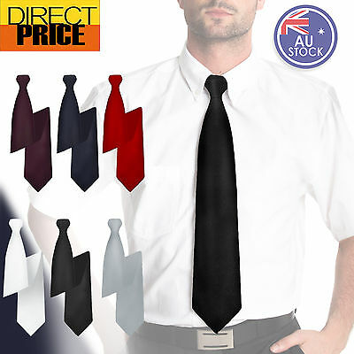 Mens Black Clip On Tie Business Tie School Boys Club Tie Wedding Time Saving