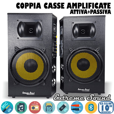 COPPIA CASSE AMPLIFICATE 1300W USB SD Mp3 Bluetooth Radio FM KARAOKE CX-2S10U-G