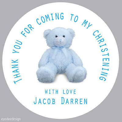 35x Personalised Blue Christening Party Thank You Envelope Seals Stickers -243