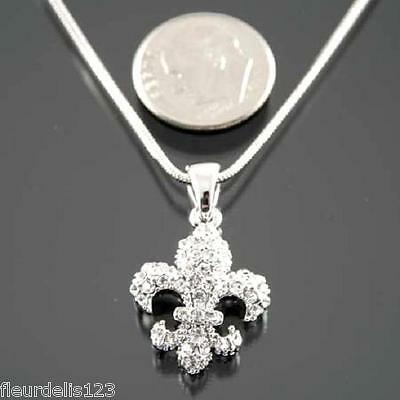 Silver Rhinestone Fleur de lis Necklace- Small, Medium, Large, or X-Large