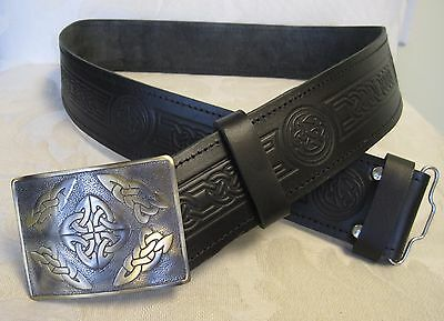 NEW Celtic Embossed Black Leather Belt & Buckle * Scottish Men's Kilt Accessory