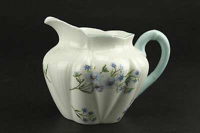 "SHELLEY ""Blue Rock"" Creamer , White Bone China, Purple Flowers, Aqua Trim"