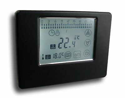 Wireless Funk Thermostat mit Touchscreen schwarz Alu #788