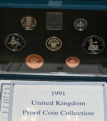 1991 - UK - 7 Coin Proof Set - in Deluxe Presentation Case with COA  (2)