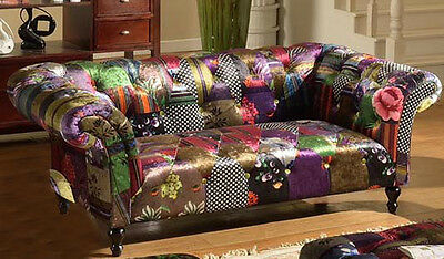 Anna Scroll Chesterfield 2 Seater Luxury Fabric Patchwork Sofa