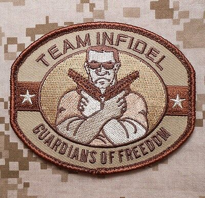Team Infidel Guardians Of Freedom Usa Tactical Army Desert Hook  Patch