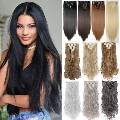 """Smooth Clip In Hair Extensions Long Straight Full Head Hair Extentions 23"""" i0"""