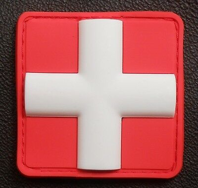"""3D PVC MEDIC CROSS SQUARE EMT EMS USA ARMY PARAMEDIC MEDICAL RED VELCRO PATCH 1"""""""