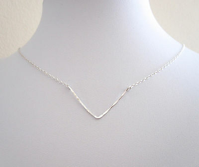 925 Sterling silver hammered wire WISHBONE CHEVRON V shape floating necklace