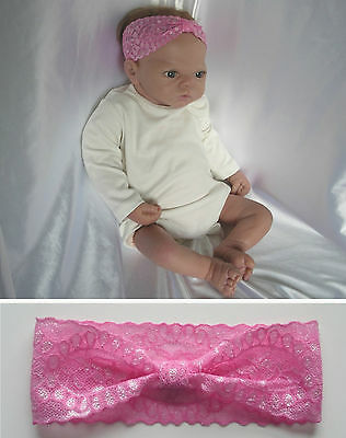 BABY to TODDLER HEADBAND - Pink Stretch Lace (1 month to 2 years)
