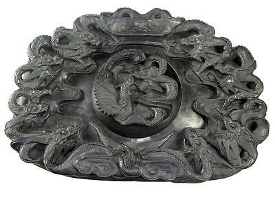 Beautiful Vintage Hand Carved Chinese Inkstone W/ Multiple Dragons & A Phoenix