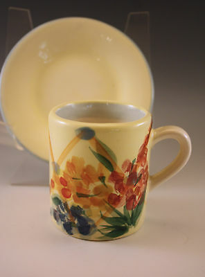 1999 GAIL PITTMAN FLOWERS DEMITASSE CUP AND SAUCER SET, SIGNED