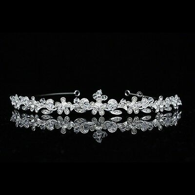 Handmade Bridal Floral Rhinestones Crystal Prom Wedding Crown Tiara 8610