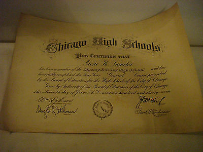 Vintage City Of Chicago Board Of Ed. Four Year Cert. Murray F. Tulley High 1937