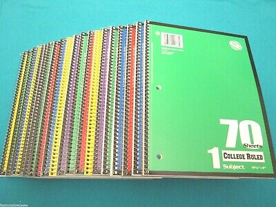 Spiral Notebook 1 Subject 70 Sheets College Ruled 22 Spiral Notebooks Lot