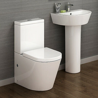 Round Close Coupled or Wall Hung Toilet & Pedestal Basin Complete Bathroom Suite