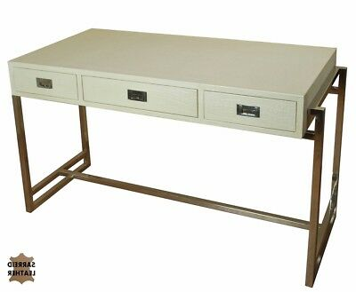 """49"""" W Desk Table White leather Wood Stainless steel frame 3 drawers Home Office"""