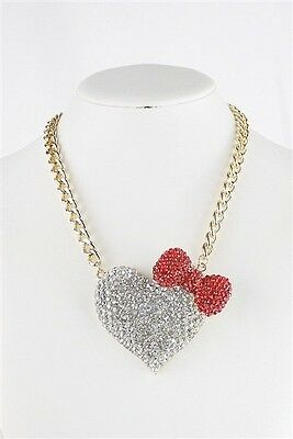 HELLO KITTY INSPIRED, GOLD LINK, WHITE & RED, RHINESTONE, HEART & BOW NECKLACE