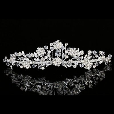 Handmade Bridal Floral Rhinestones Crystal Prom Wedding Crown Tiara 8957