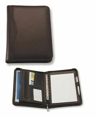 A5 Black Zippered Compendium Genuine Leather with binder Express Courier Include
