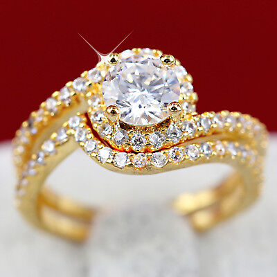 18K Yellow Gold Gf R294 Wave Wedding 2Ct Diamonds Simulant Ladies Solid Ring Set