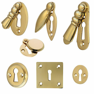 Escutcheons Keyhole Covers in Polished Brass Heavy Cast - 7 More Design Options