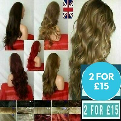 3/4 Fall Half Wig Clip In on Hair Piece Long Wigs black wavy curly best quality