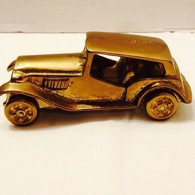 "Vintage Solid  Brass European Coupe Car Paperweight Wheels Turn 14.4oz. 5"" Long"