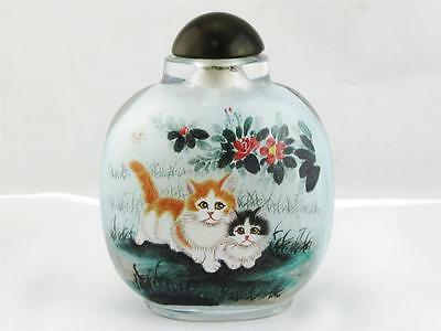 Beautiful Chinese Glass Overlay Snuff Bottle Hand Painted Adorable Kittens