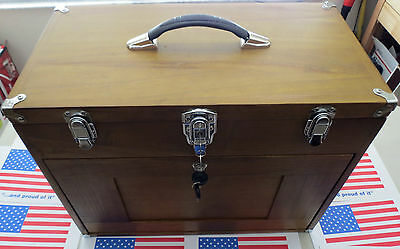 TOOL CHEST HARD WOOD 8 DRAWER FELT LINED CHROMED HARDWARE KEY LOCK comp at $400!