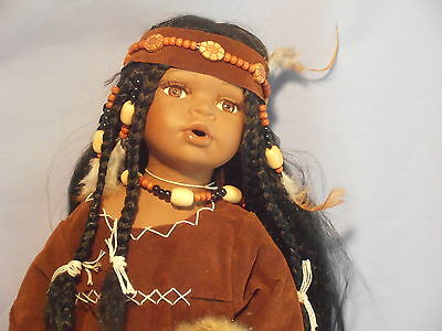 "24"" Porcelain Doll ""ROSE 1 of 5000"" Indian princess with papoose Native American"
