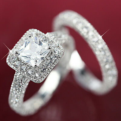 18K White Gold Gf Square Anniversary Wedding Diamond Women Solid Bridal Ring Set