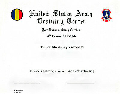 US Army Basic Combat Training Certificate 4th TR BGD Ft jackson, SC
