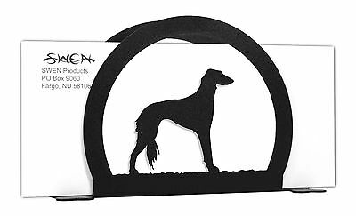 Saluki Dog Black Metal Napkin or Letter Holder *NEW*