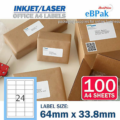 100 x 24 up 64 x33.8mm Peel Paste Label A4 Office Mailing Address label 24UP