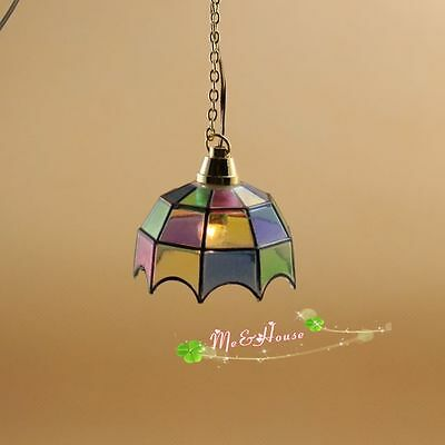 1/12 dollhouse colored Tiffany hanging lamp 12 volt working light