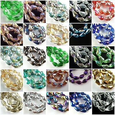 Lots 20pcs Teardrop Glass Crystal Faceted Beads Spacer Finding 10x15mm Charms