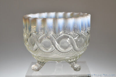 ca. 1903 BEADED CABLE by Northwood WHITE OPALESCENT Nut Dish Dish EARLY VERSION